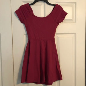 WET SEAL Medium Maroon A-Line Skater Dress